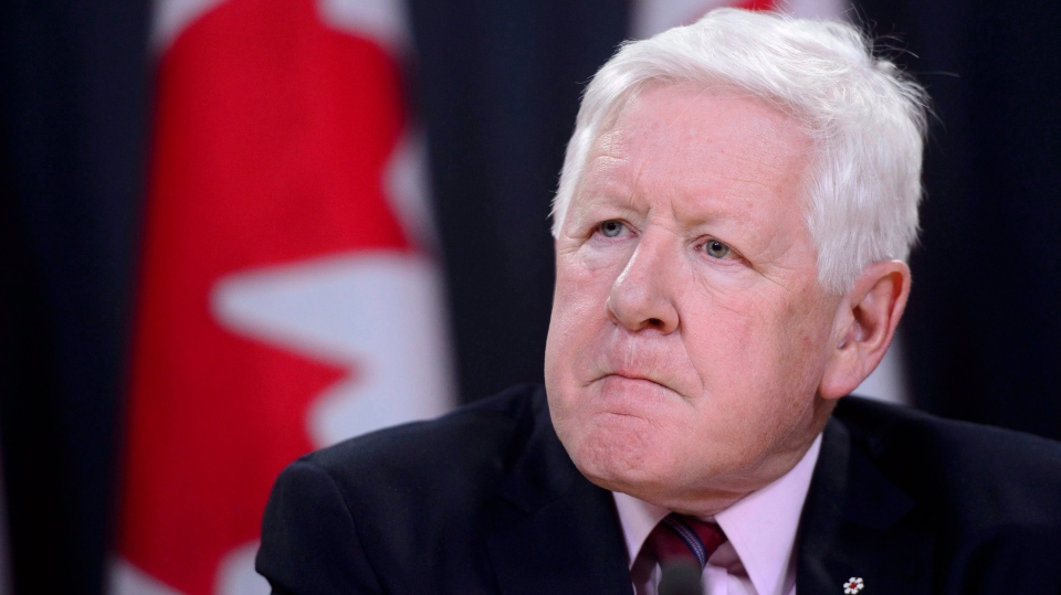 Canadian special envoy Bob Rae releases a report on the humanitarian and security crisis in Myanmar at a press conference in Ottawa on Tuesday, April 3, 2018. (THE CANADIAN PRESS/Sean Kilpatrick)