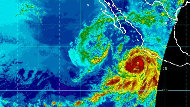 Hurricane Bud is seen near Mexico's Pacific coast at 8:00 a.m. ET on Monday