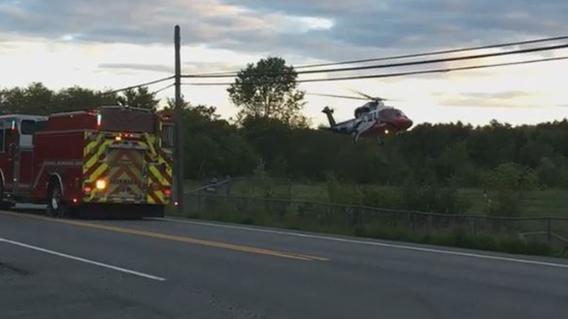 A LifeFlight helicopter leaves the scene of a two-vehicle collision in Wellington, N.S., on June 10, 2018. (Brittney Traver)