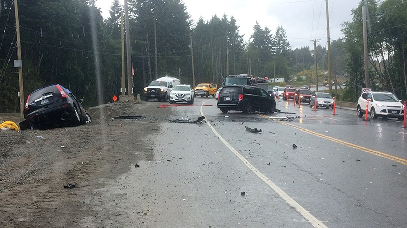 One person was killed and two others injured in a weekend crash on the Malahat Highway. June 9, 2018. (CTV Vancouver Island)