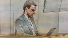 Dellen Millard is seen in this court sketch, Monday, June 11, 2018.