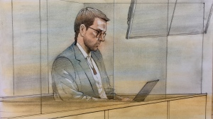 Dellen Millard appears in court on June 11, 2018. (Sketch by John Mantha)