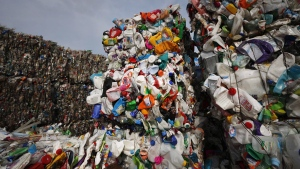 Plastic trash is compacted into bales for further processing at the waste processing dump on the outskirts of Minsk, Belarus on March 12, 2015. (THE CANADIAN PRESS/AP, Sergei Grits)