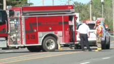 Sudbury fire crew on the scene of crash
