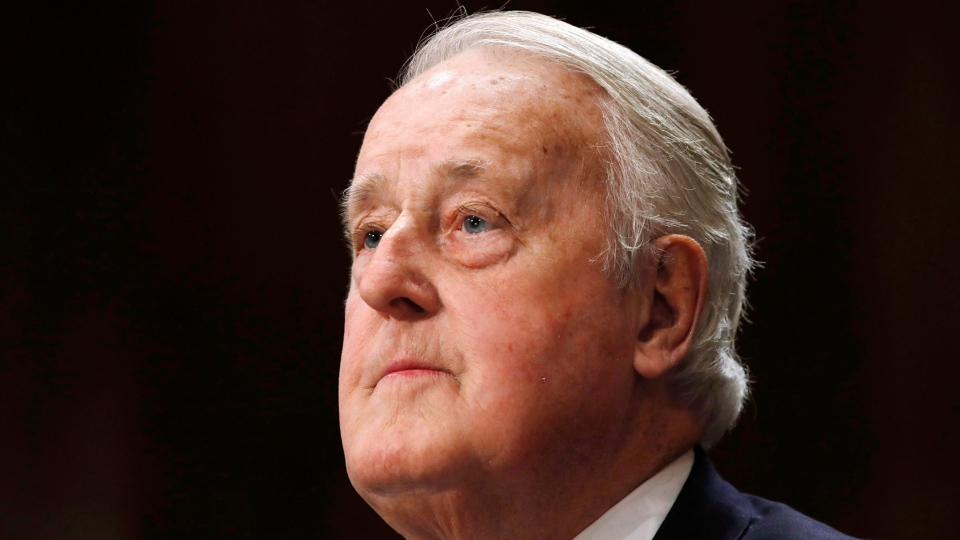 Brian Mulroney, the former prime minister of Canada, attends a Senate Foreign Relations Committee hearing on the Canada-U.S.-Mexico relationship, Tuesday, Jan. 30, 2018, on Capitol Hill in Washington. (THE CANADIAN PRESS/AP /Jacquelyn Martin)