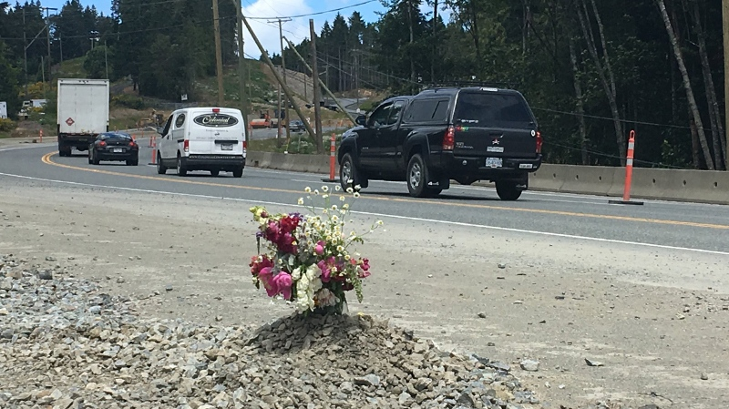 A makeshift memorial has sprung up along the Malahat for David Tilley, a 46-year-old Vancouver man killed in a collision on the weekend. June 11, 2018. (CTV Vancouver Island)