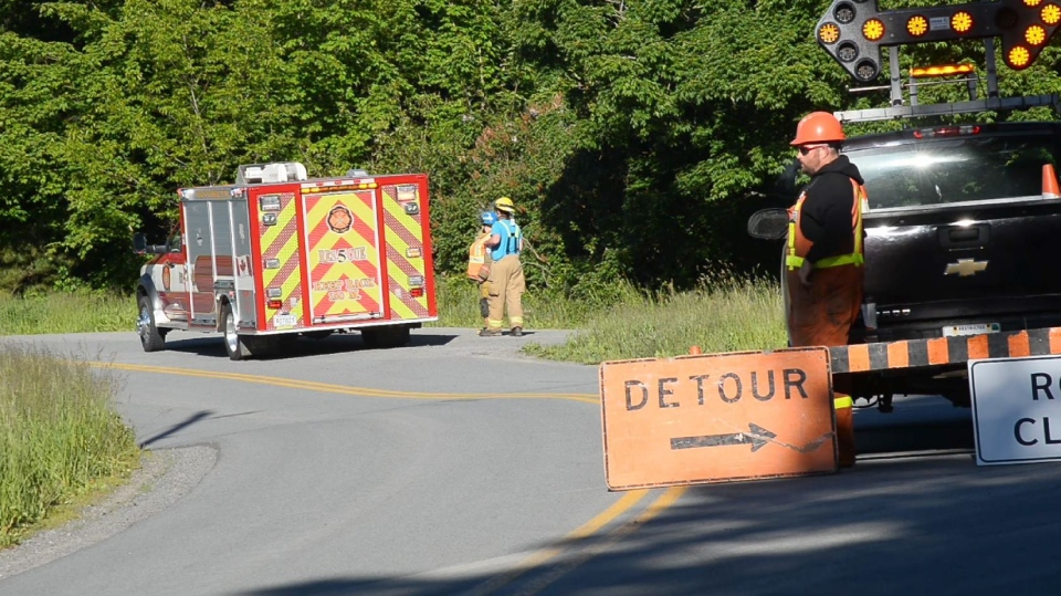 Avondale Road was closed at Ferry Road on June 12, 2018 following a fatal two-vehicle collision. (Bill Roberts)
