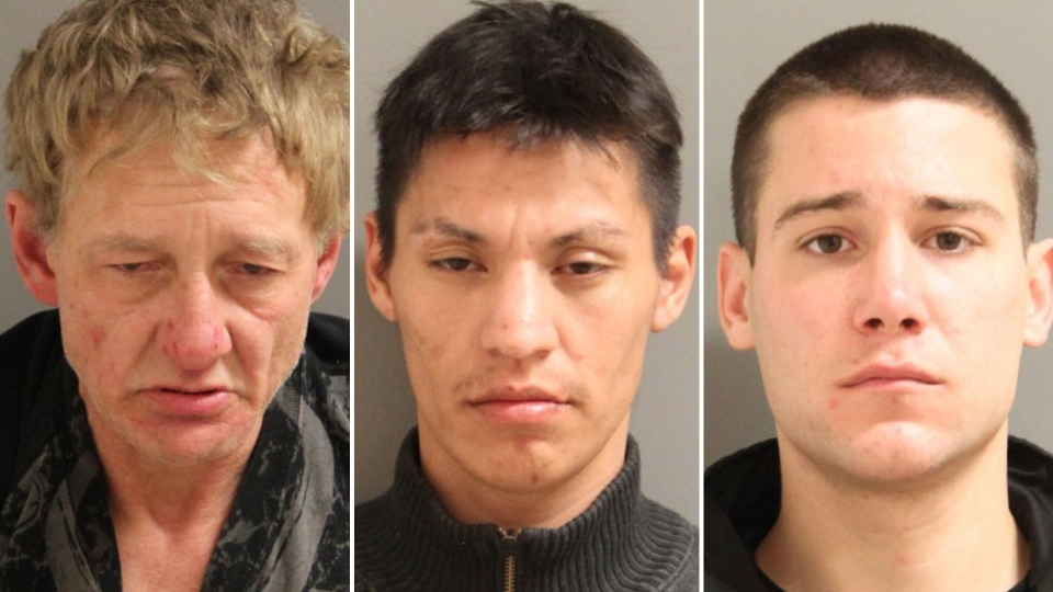 Douglas Brian Power, 52, Dallas Albert Rain, 26, and Quinn Russel Peterson, 26, are shown in this undated police handout photo. (THE CANADIAN PRESS/HO - RCMP)