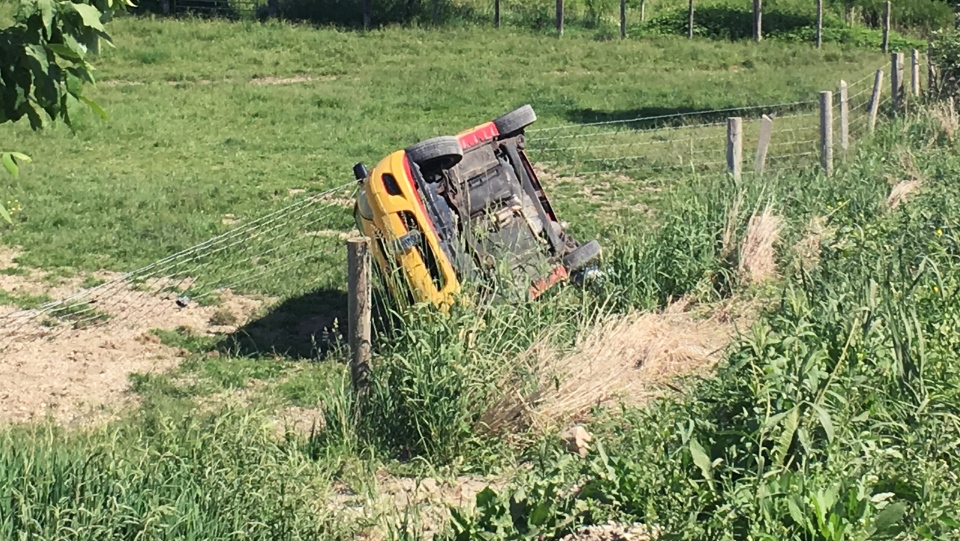 A car ended up in a ditch off Hackbart Road in Wellesley Township after its driver tried to swerve around a deer. (Emma Ens / CTV Kitchener)