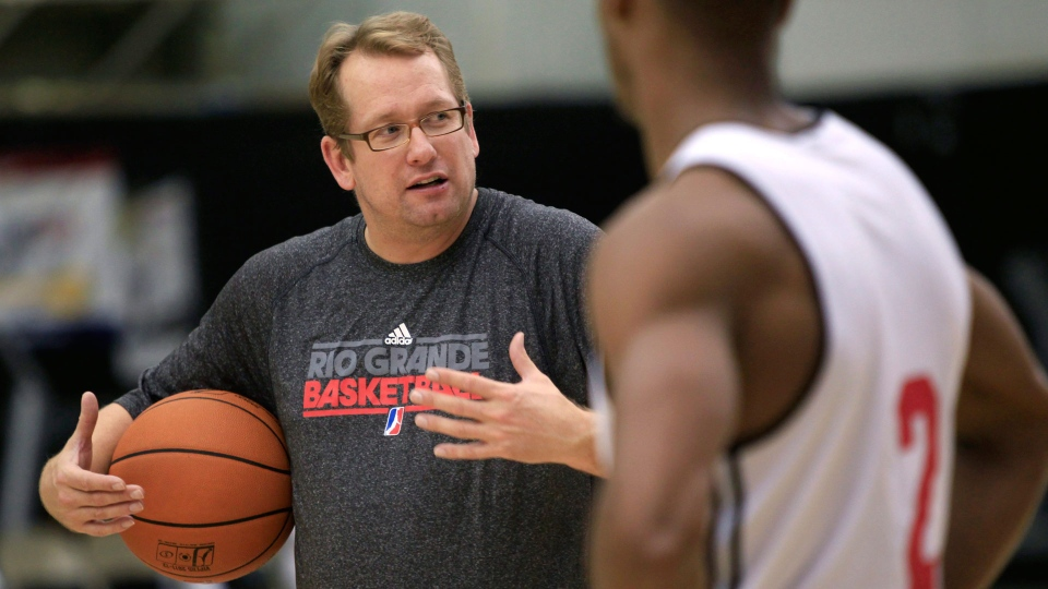 In this file photo, Nick Nurse, then coach of the NBA Development League's Rio Grande Valley Vipers, talks with his team during the first day of training camp Tuesday, Nov. 8, 2011, in Pharr, Texas. (AP Photo/The Monitor, Nathan Lambrecht)
