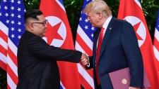 Trump and Kim Jong Un shake hands