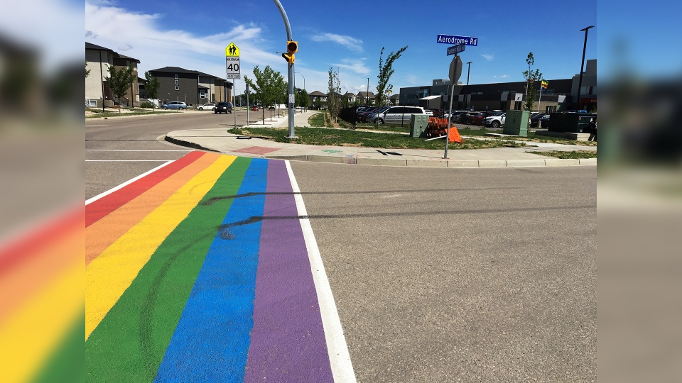 The crosswalk outside of Harbour Landing School in Regina. (GARETH DILLISTONE/CTV REGINA)