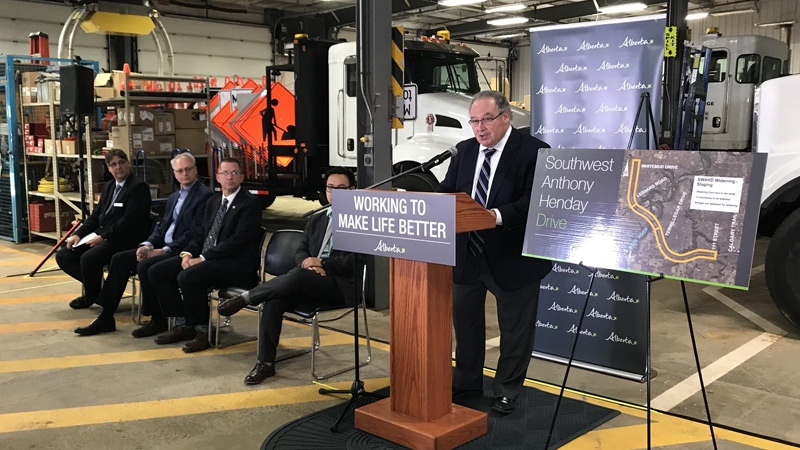Infrastructure and Transportation Minister Brian Mason announcing the Anthony Henday Drive southwest leg expansion on Tuesday, June 12, 2018.