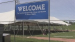 Welcome sign at the Canadian Baseball Hall of Fame and Museum