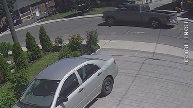 Suspect Vehicle (on road in background) in fatal fail to remain collision at Briar Hill Ave. and Dufferin St. on June 11, 2018. (Police handout)