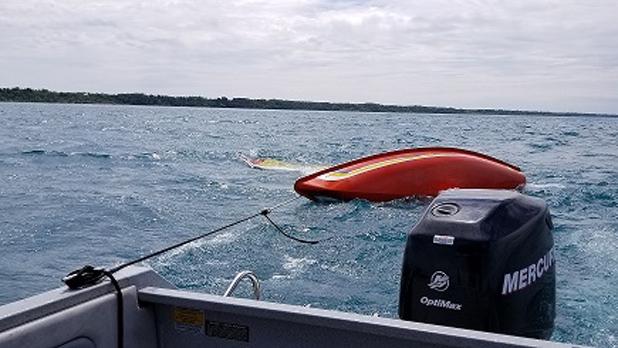 Sailboat overturned