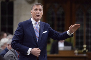 Quebec MP Maxime Bernier is shown during Question Period in the House of Commons in Ottawa on Thursday, Sept. 28, 2017. Conservative Party Leader Andrew Scheer has removed Bernier from his role as the party's innovation critic. THE CANADIAN PRESS/Adrian Wyld