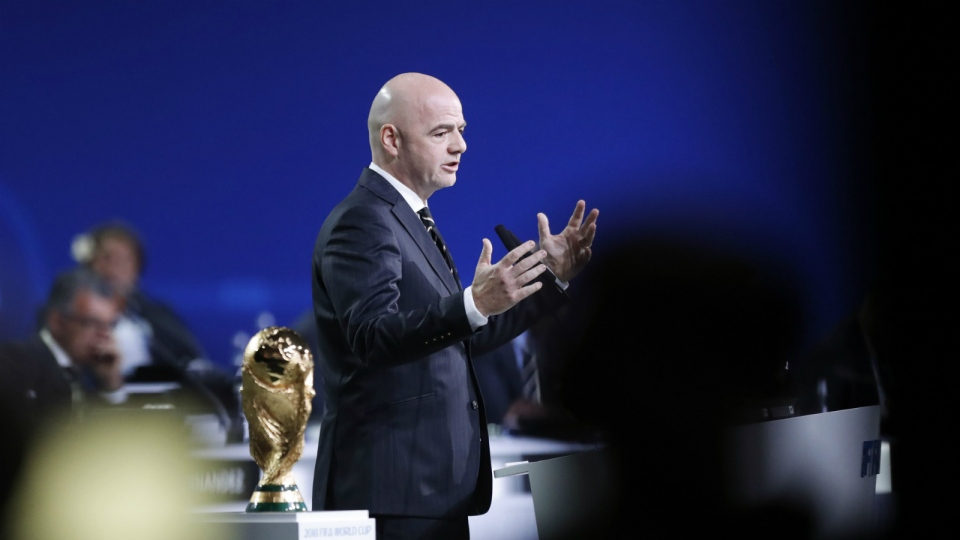 FIFA President Gianni Infantino delivers a speech at the FIFA congress on the eve of the opener of the 2018 soccer World Cup in Moscow, Russia, Wednesday, June 13, 2018. (AP Photo/Alexander Zemlianichenko)