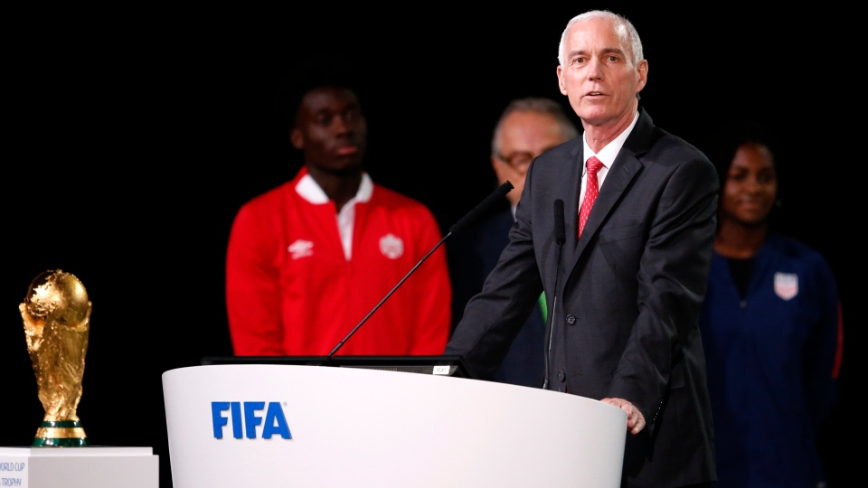 Steve Reed, president of the Canadian Soccer Association speaks at the FIFA congress on the eve of the opener of the 2018 soccer World Cup in Moscow, Russia, Wednesday, June 13, 2018. The congress in Moscow is set to choose the host or hosts for the 2026 World Cup. (AP Photo/Alexander Zemlianichenko)