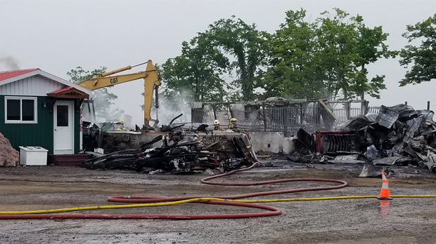 Police say seven horses are dead and a barn is destroyed following a fire north of Erin. (Photo: Twitter/Charles Hamilton)