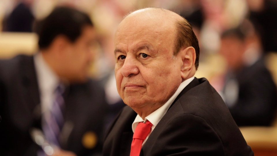 In this Nov. 10, 2015 file photo, the President of Yemen Abed Rabbo Mansour Hadi, participates in a summit of Arab and South American leaders in Riyadh, Saudi Arabia. (AP Photo/Hasan Jamali, File)