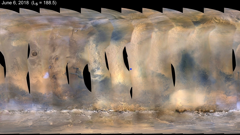 This composite image made from observations by NASA's Mars Reconnaissance Orbiter spacecraft shows a global map of Mars with a growing dust storm as of June 6, 2018. (NASA/JPL-Caltech/MSSS via AP)