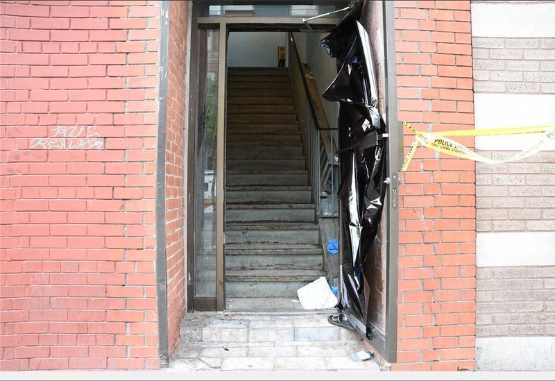 "The entrance to once-known as ""Retox,"" a College Street after-hours club where two people were shot dead in 2016. (Toronto police handout)"