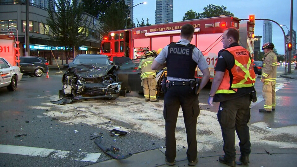 Police respond to a crash in Burnaby that sent a pregnant woman to hospital.