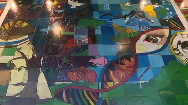 The mural was created by students from the Calgary Arts Academy, Chiila Elementary School and Connect Charter School.