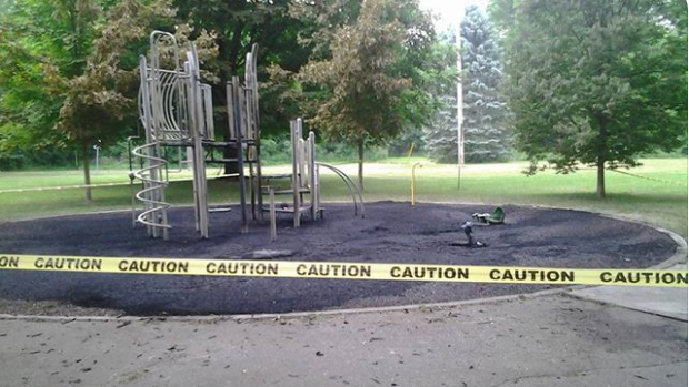 London playground fire on June 13, 2018.