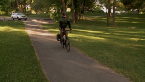 Cyclist Patrick Pearce begins his morning commute