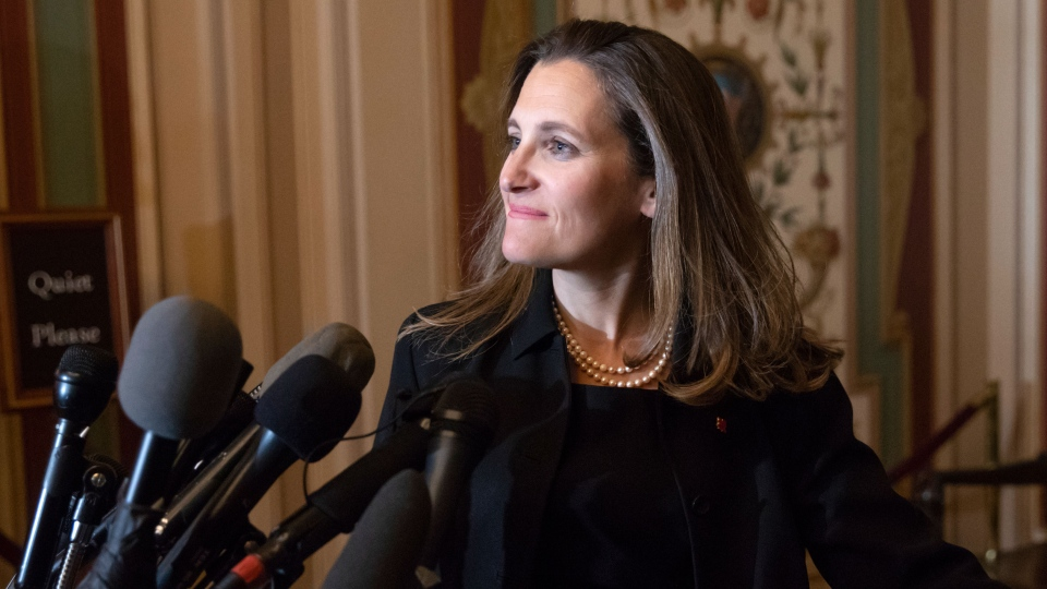 Minister of Foreign Affairs Chrystia Freeland speaks with reporters after meeting with the U.S. Senate Foreign Relations Committee at the Capitol in Washington, Wednesday, June 13, 2018. (AP Photo/J. Scott Applewhite)
