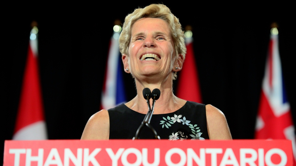 In this file photo, outgoing Ontario Premier Kathleen Wynne speaks during a press conference at the Ontario Legislature at Queen's Park in Toronto on Friday, June 8, 2018. THE CANADIAN PRESS/Frank Gunn