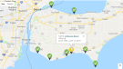 A map outlining which Windsor-Essex beaches are good for swimming. (Courtesy Windsor-Essex County Health Unit)