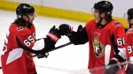 Ottawa Senators' Mike Hoffman (68) celebrates his game-winning goal against the Buffalo Sabres with Erik Karlsson (65) and Matt Duchene (95) during overtime period NHL hockey action in Ottawa, Thursday, February 15, 2018. THE CANADIAN PRESS/Justin Tang