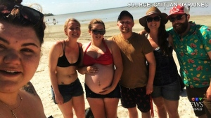 Caitlan Okrainec (left) and her pregnant cousin were rescued from Lake Winnipeg. (CTV)