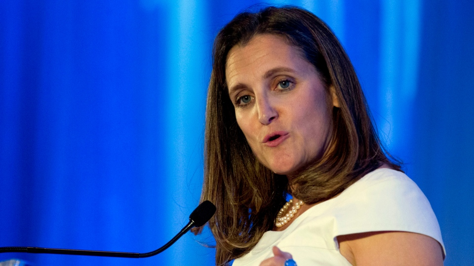 Canadian Minister of Foreign Affairs Chrystia Freeland speaks after receiving the Foreign Policy's Diplomat of the Year 2018 award on Wednesday, June 13, 2018, in Washington. (AP Photo/Jose Luis Magana)
