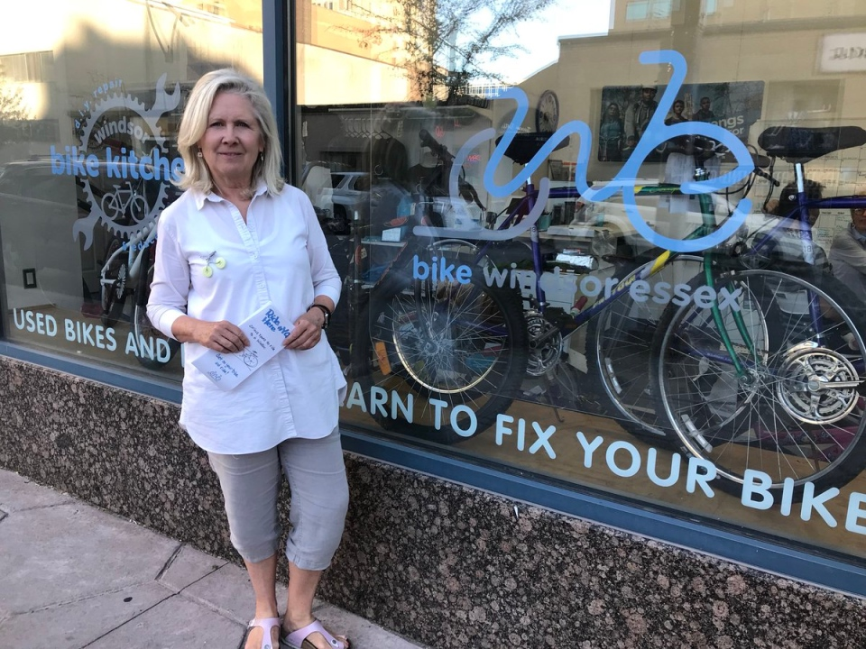 Executive director, Lori Newton in front of Bike Windsor-Essex on June 13, 2018. (Alana Hadadean / CTV Windsor)