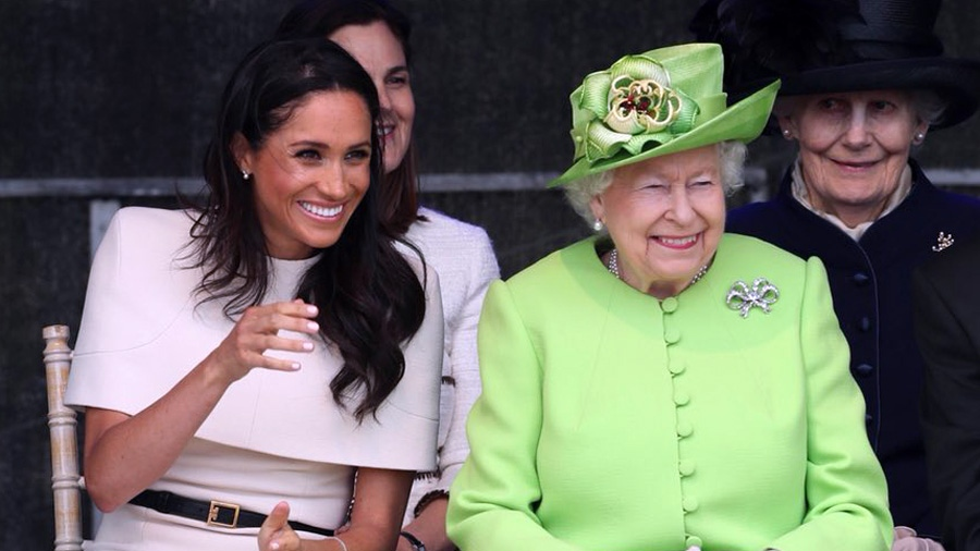 The Duchess of Sussex joins The Queen to watch a performance by local schoolchildren. (Kensington Palace)