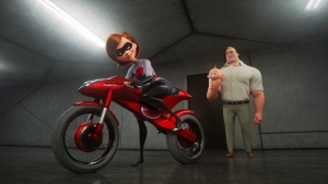 """This image released by Disney Pixar shows the character Helen/Elastigirl, voiced by Holly Hunter, left, and Bob/Mr. Incredible, voiced by Craig T. Nelson in """"Incredibles 2,"""" in theaters on June 15. (Disney/Pixar via AP)"""