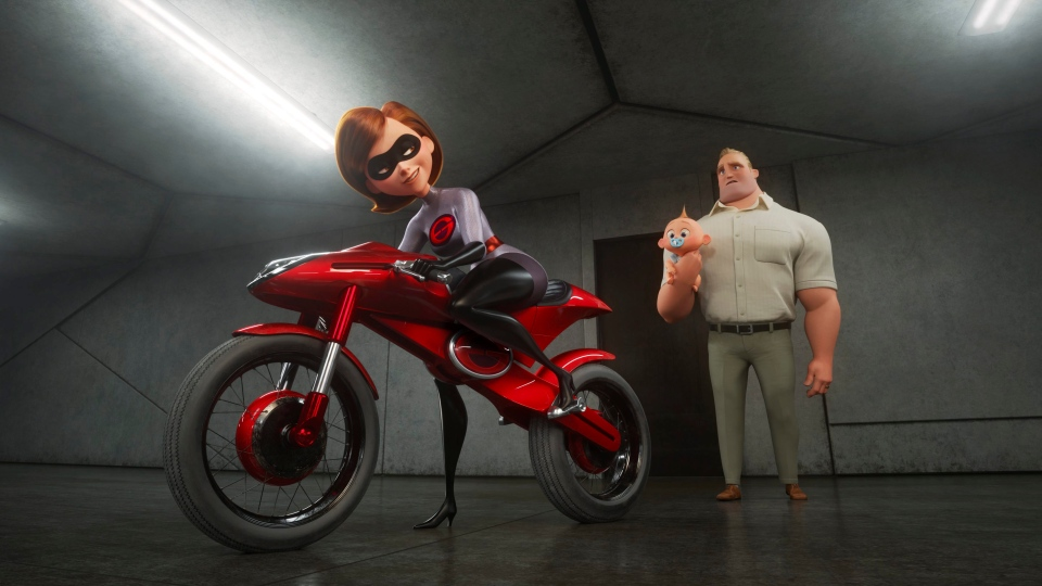 "This image released by Disney Pixar shows the character Helen/Elastigirl, voiced by Holly Hunter, left, and Bob/Mr. Incredible, voiced by Craig T. Nelson in ""Incredibles 2,"" in theaters on June 15. (Disney/Pixar via AP)"