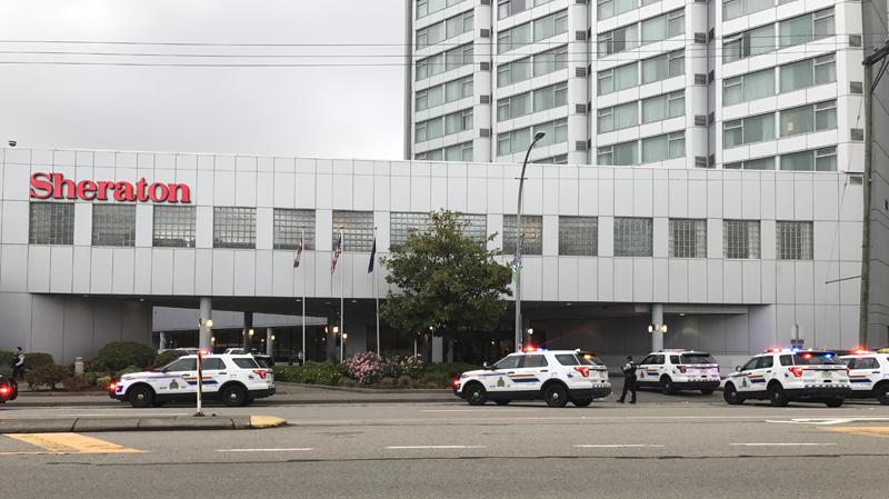 Police were called to the Sheraton Vancouver Guildford Hotel in Surrey, B.C. following a stabbing on Thursday, June 14, 2018.