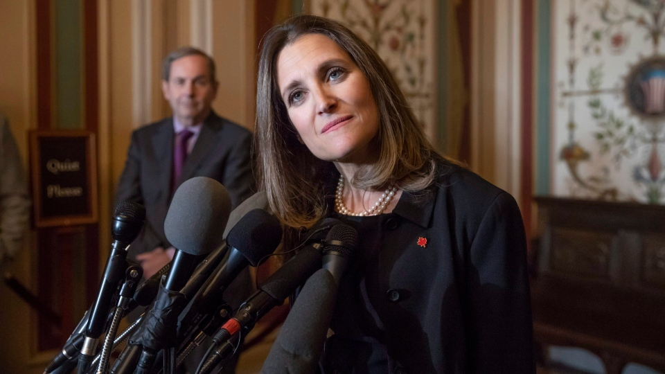 Canadian Minister of Foreign Affairs Chrystia Freeland speaks with reporters after meeting with the U.S. Senate Foreign Relations Committee at the Capitol in Washington, Wednesday, June 13, 2018. (AP Photo/J. Scott Applewhite)