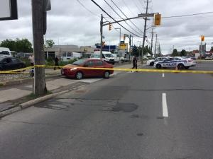A female pedestrian and two children were struck by a car Thursday morning (Source: Peter Szperling)