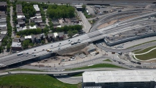 An aerial view of Turcot Interchange, in a photo provided by KPH Turcot
