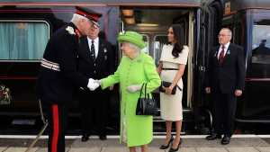 The Queen and Meghan, Duchess of Sussex, arrive by Royal Train at Runcorn Station, north west England, Thursday June 14, 2018. (Peter Byrne/Pool via AP)