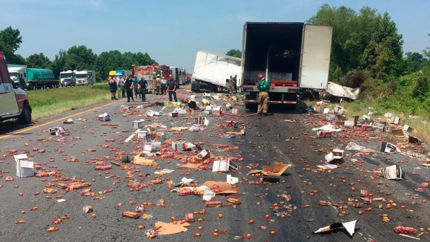 Arkansas highway drenched in Fireball whiskey after fiery semi-truck crash