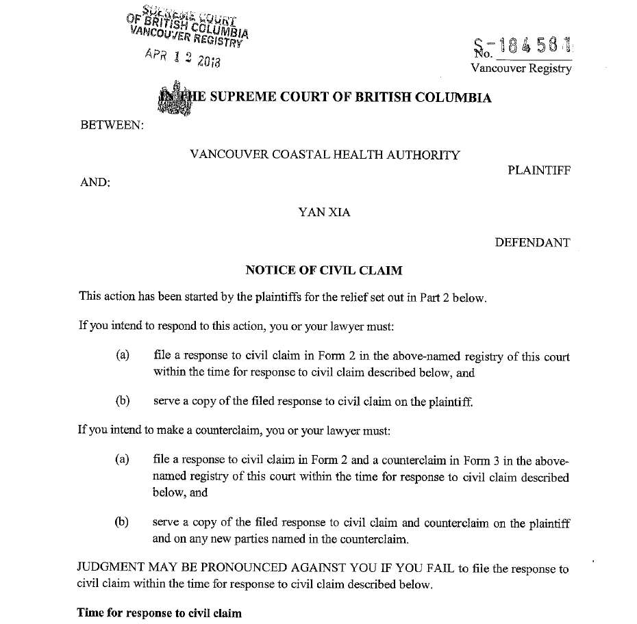 From the first page of the notice of civil claim filed by Vancouver Coastal Health Authority against Yan Xia (CTV News)