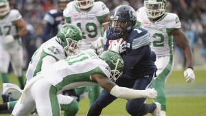 Toronto Argonauts running back Anthony Coombs (1) fumbles the ball as he's tackled by Saskatchewan Roughriders defensive back Ed Gainey (11) during first half CFL East Division final football action at BMO Field in Toronto, Sunday, Nov.19, 2017.Ed Gainey still replays a moment from the Toronto Argonauts' winning touchdown drive during last year's East Division final in his head. (Nathan Denette / The Canadian Press)