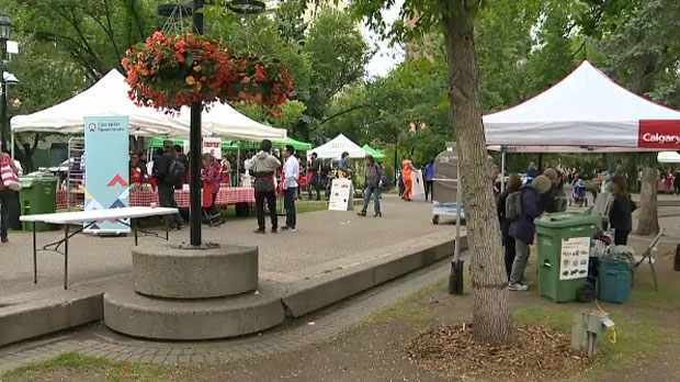 Booths at Olympic Plaza on June 14, 2018 for the second annual Feed the 5,000 event